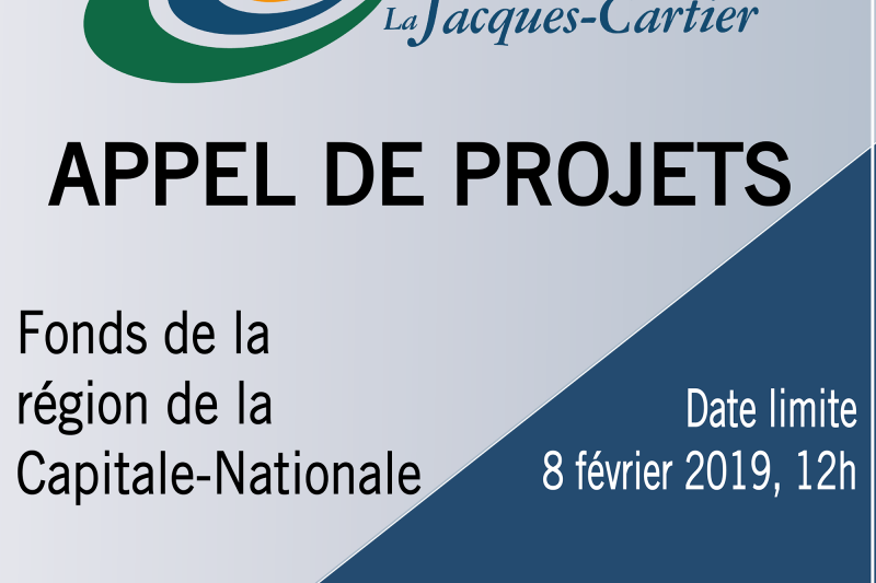 Premier appel de projets - Fonds de la région de la Capitale-Nationale
